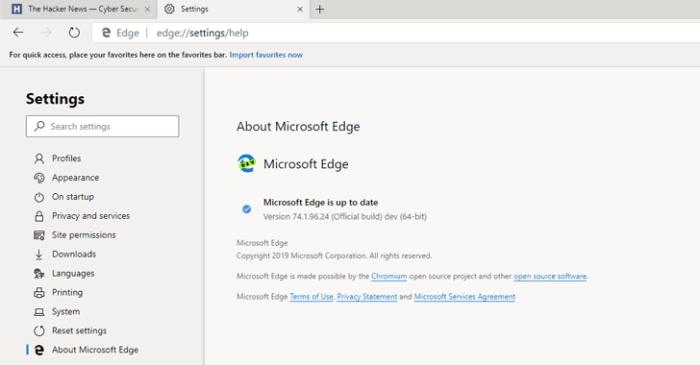 cromo do navegador Microsoft Edge